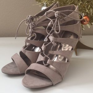 Madden Girl Nude Lace Up Heels Size 8.5